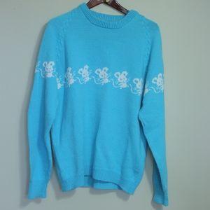 Kawaii pastel vintage sweater, blue with mice